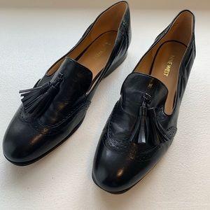 Nine West Black Leather Tassel Slip On Loafer